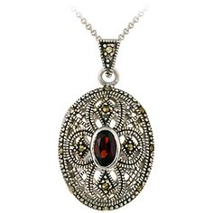 @Overstock - This beautiful locket-style pendant features marcasite and garnet gemstones on an intricate design. An 18-inch sterling silver chain is included with this necklace.http://www.overstock.com/Jewelry-Watches/Glitzy-Rocks-Sterling-Silver-Marcasite-and-Garnet-Oval-Locket-Necklace/3181205/product.html?CID=214117 $29.99