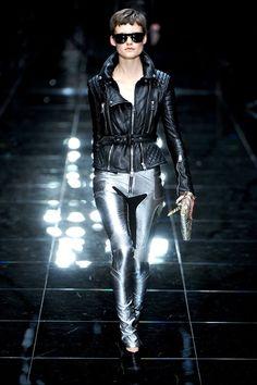 Burberry Prorsum SS2011 leather biker jacket silver pants
