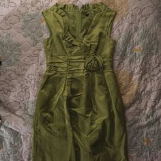 Nanette Lepore sz 6 lime green cocktail dress Lightly worn, perfect condition nanette lepore satin lime green cocktail dress. Just above the knee length. Ruffle detail and rosette at waist. NO TRADES Nanette Lepore Dresses