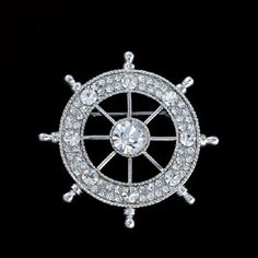 [$3.99] American Style Rudder Rhinestone Brooch (Suitable for Both Men And Women Random Color)