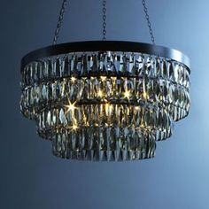 Three shallow tiers of beautiful hand-cut crystal and hand-crafted metalwork. Available in Bronze or Flat Nickel Metalwork. Made to order in approximately 4-8 weeks and delivered with LED light sources supplied free of charge.