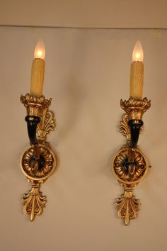 19th Century Bronze Wall Sconces | From a unique collection of antique and modern wall lights and sconces at https://www.1stdibs.com/furniture/lighting/sconces-wall-lights/
