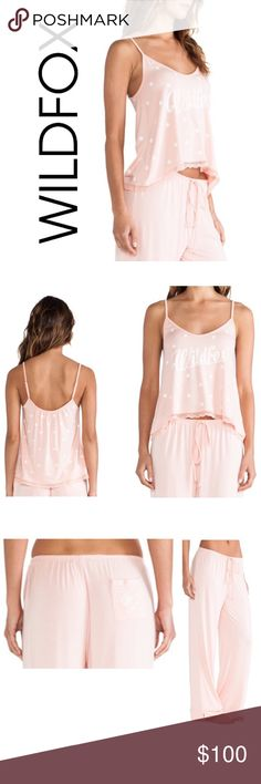 WILDFOX Polka Dot Pajama Set Set includes Camisole with Adjustable Shoulder Straps; and Drawstring Pants with Cute Back Pocket.   *Size: Medium PJ Set *Color: Peach / White *Material: 89% Modal / 11% Spandex  *Hand Wash Cold  *Retails $128                                                                            Price is Firm; I am in Love with this set and decided to keep if not sold at the list price  [ soft sleepover lace cami 60's 60s polka dot peach peony ] Wildfox Couture Intimates…