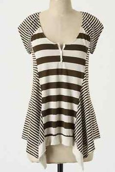 Anthropologie Thick & Thin Henley Top Tee Blouse Sizes S & L, Three Dots