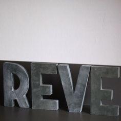 """Lettres déco en zinc """"REVE"""""""