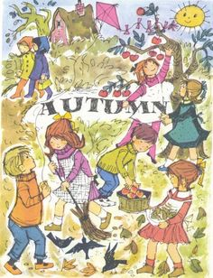 Four Seasons AUTUMN- 1970s vintage children's illustration