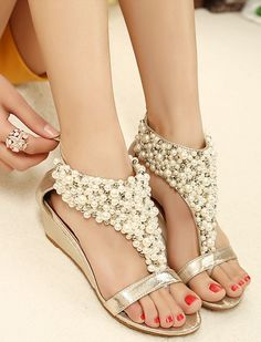 Dressy Flat Sandals With Pearls Shoes Fashion Style Fake Pearl Embellished