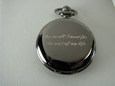 Engraved pocket watch from the Bride to the Groom on their wedding day!