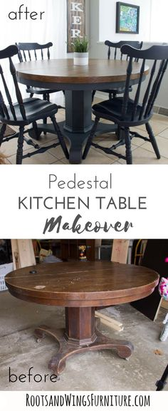 Pedestal Kitchen Table Makeover A antique store score gets a makeover and a whole new life when I get my hands on this antique pedestal round table. Wooden table makeover by Roots & Wings Furniture. Refurbished Kitchen Tables, Refinishing Kitchen Tables, Farmhouse Kitchen Tables, Refurbished Furniture, Kitchen Furniture, Furniture Makeover, Diy Furniture, Vintage Furniture, Furniture Stores