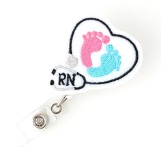Baby Feet Badge Reel  Labor and Delivery Nurse by BadgeBlooms, $7.00