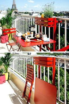 101 Deco & Design Ideas For A Small Balcony - furniture Tiny Balcony, Outdoor Balcony, Outdoor Spaces, Outdoor Living, Outdoor Decor, Balcony Gardening, Balcony Ideas, Paris Balcony, Balcony Furniture