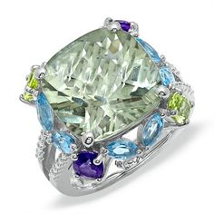 Large Cushion-Cut Green Quartz Ring in Sterling Silver with Multi-Gemstone Accents
