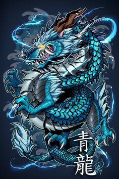 Koi Dragon Tattoo, Chinese Dragon Tattoos, Dragon Sleeve Tattoos, Dragon Tattoo Designs, Dragon Tattoo Pictures, Dragon Pictures, Japanese Tattoo Art, Japanese Art, Dragon Illustration