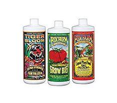 Fox Farm Liquid Nutrient Trio Soil Formula: Big Bloom, Grow Big, Tiger Bloom (Pack of 3 - 32 oz. Get the right juice for the right use Hydroponic Farming, Hydroponic Growing, Hydroponics, Hydroponic Plants, Liquid Fertilizer, Organic Fertilizer, Organic Gardening, Grass Fertilizer, Compost Tea