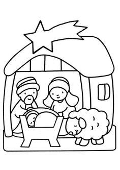 Dessin de petit Jésus avec ses parents et un mouton dans une crèche, coloriage pour enfants
