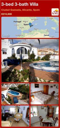 3-bed 3-bath Villa in Ciudad Quesada, Alicante, Spain ►€215,000 #PropertyForSaleInSpain