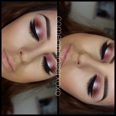 """MAC """"cranberry"""" (outer corners) MAC """"pink freeze"""" (lid) layered with MAC teal reflects glitter on top. Inglot Gel Liner, anastasiabeverlyhills pro brow palette on  eyebrows, her concealer to clean up my eyebrows and highlight my face (comeoncloserxoxo)"""