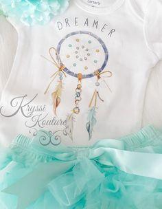 Infant aqua Dream Catcher Boho Native Baby Girl Dreamer Onesie Shirt- Ruffles & Bowties Bowtique - Calgary 2