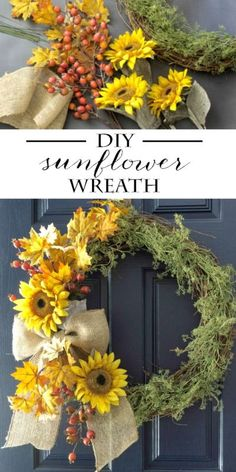 DIY Fall Wreath with Sunflowers | Simple tutorial to make your own fall wreath using sunflowers, leaves and berries. Finish it off with a classic burlap bow. This will pop right off your door and add amazing curb appeal! #Sponsored