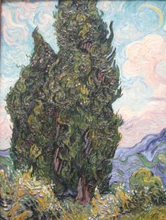 """Cypresses"" was painted in late June 1889, shortly after Van Gogh began his year long voluntary stay as a patient in the asylum in Saint-Remy.  The subject, which he found ""as beautiful of line and proportion as an Egyptian obelisk, both captivated and challenged the artist: ""It is a splash of black in a sunny landscape, but it is one of the most interesting black notes, and the most difficult to hit off exactly that I can imagine.""  Van Gogh's initial fascination with cypresses resulted in…"