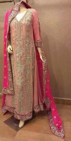 Bridal Dresses Pakistani Peach Pink 34 New Ideas Walima Dress, Pakistani Wedding Dresses, Pakistani Outfits, Indian Dresses, Indian Outfits, Desi Clothes, Asian Clothes, Party Clothes, Bridal Outfits