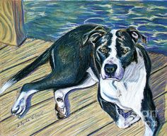 """D. Renée Wilson  """"Sittin' on the Dock""""  2012  private Pawtrait commission  A portion of all Pawtrait commissions and print & card sales go to Pet Rescue by Judy! Click image to visit artist's site."""