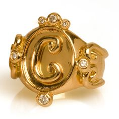 Erica Courtney 18k Gold and Diamond Initial Rings. 323.938.2373