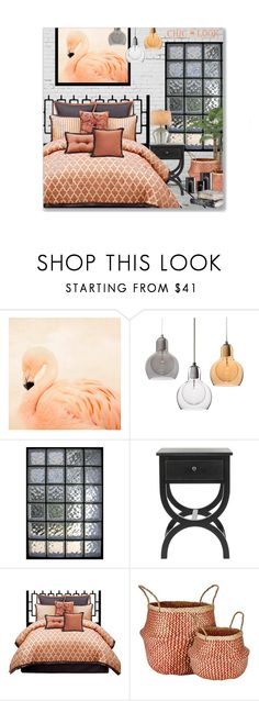 """""""Chic Look - Flamingo Hues"""" by leanne-mcclean ❤ liked on Polyvore featuring interior, interiors, interior design, home, home decor, interior decorating, angelo:HOME, Murmur, Currey & Company and bedroom"""