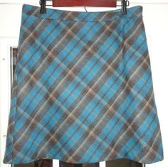 $24.95 OBO Women's American Eagle Multi Colored Plaid Knee Length Wool Blend Skirt Size: 14 #freeshipping