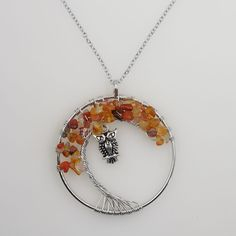 Tree of Life pendant, with a hanging owl