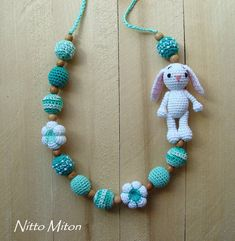 Crochet Nursing necklace Wooden Teething necklace for mom Babywearing Breastfeeding necklace Ring Sling Baby girl boy toy Eco Organic beads