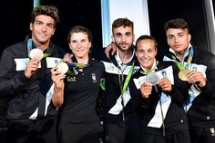 Gabriele Detti bronze medalist in the men's 400-meter freestyle with Elisa Longo Borghini who secured bronze in the women's cycling road race Daniele Garozzo who won gold in the men's individual foil fencing Odette Giuffrida who took home silver in the women's judo 52kg and Fabio Basile who earned gold in the men's 66kg judo. #ItaliaTeam #EA7 #Rio2016