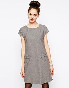 Love Moschino Short Sleeve Shirt Dress with Heart Pockets