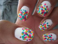 Go to blog on step by step for how to make your own confetti colour burst nails =]