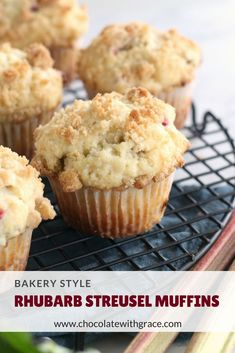 Rhubarb Streusel Muffins. Are puffy tender, just like your bakery favorites. An easy and quick rhubarb muffin recipe. Visit my blog for all the best rhubarb recipes. #rhubarb #rhubarbrecipes #muffins #breakfast #bread #brunch