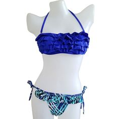 f13efc38eb428 New Korean version of the swimsuit color triangle split bikini three lotus  leaf sexy hot spring