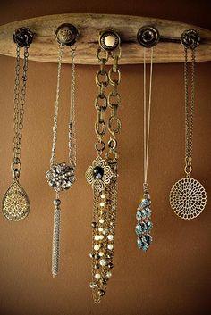 DIY Driftwood Jewelry Holder - wood and fancy screw in doorknobs.