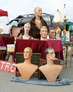Vintage mannequins from Alameda Point Antiques Faire.  Most distinguished looking group.