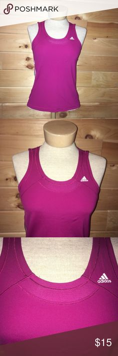 """Adidas Clima Cool Scoop Neck Workout Tank Top Adidas clima cool scoop neck workout tank top. Size 8. Pink and white colors. Back has a breathable mesh section on the top and down the center. 100% nylon. 15"""" across bust. 22"""" length in front and 23.5"""" in back. No trades, offers welcome! adidas Tops Tank Tops"""
