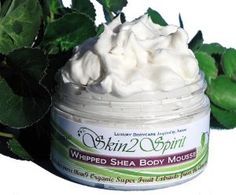 """Skin2Spirit: Organic Body Mousse  / """"Luxury knows no bounds with this ULTRA moisturizing Shea Body Mousse! Made with PURE ALOE as the main ingredient (NO Water!), SHEA & COCOA butters are whipped until light & fluffy -it looks & feels like mousse, yet is absorbed quickly into your skin & is not sticky! And better yet, this body mousse is made with CERTIFIED ORGANIC INGREDIENTS and VEGAN!..."""""""