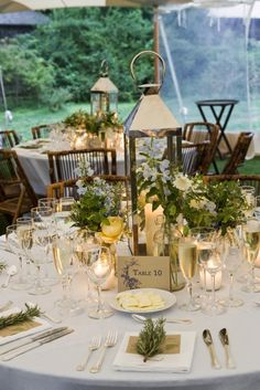 Beautiful table setting using Lanterns as centerpieces Lantern Centerpiece Wedding, Wedding Decorations, Centerpiece Ideas, Table Centerpieces, Lantern Wedding Centerpieces, Elegant Centerpieces, Wedding Table Settings, Wedding Tables, Wedding Reception