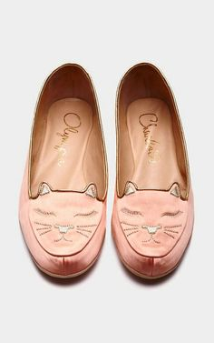 Shop Cat Nap Silk-Satin Slippers and Eye Mask in Blush. These handmade blush silk satin kitty slippers from Charlotte Olympia feature a sleeping kitty face at the rounded toe and metallic gold piping detail. Cat Shoes, Sock Shoes, Shoe Boots, Shoe Bag, Charlotte Olympia, Mode Rose, Crazy Cat Lady, Me Too Shoes, Slippers
