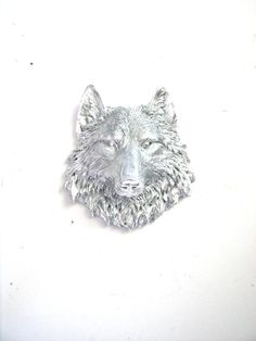 Faux Taxidermy Small Wolf Head Wall Hanging Wall by mahzerandvee, $30.00