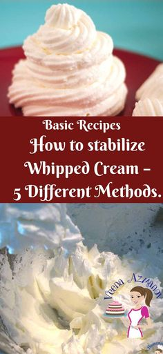 We all need our whipped cream dessert to look just as nice tomorrow as it does today. But keeping whipped cream fresh longer can be tricky. These five simple, easy and effortless methods to stabilize whipped cream will make sure your cakes, cupcakes, and desserts look fresh longer. You can try any of these five methods that work best for your current project #whipped #cream #stabilize #5methods #recipe #howto