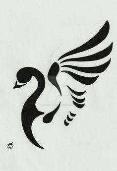 Tattoo 5 by DeshwitatRudbich on DeviantArt Stencil Art, Stencils, Black Swan Tattoo, Bird Silhouette Art, Drawing Cartoon Faces, Copper Art, Art Corner, Pet Rocks, Aboriginal Art