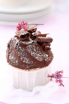 Chocolate Cupcakes with Chocolate Ganache I Love Chocolate, Chocolate Heaven, Chocolate Cupcakes, Chocolate Lovers, Chocolate Desserts, Chocolate Souffle, Chocolate Chocolate, Spice Cupcakes, Yummy Cupcakes