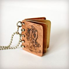 Metal Book Pendant - Mad Hatter - We Are All Mad Here - Copper, Brass with Etched Cover - Can Be Personalized