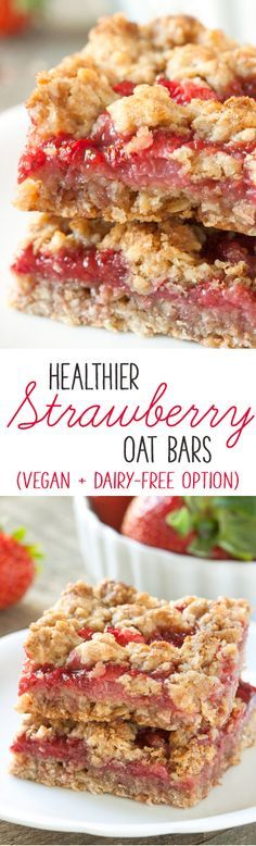 Strawberries and strawberry jam are sandwiched between a buttery streusel-like mixture in these whole grain strawberry oat bars! With a vegan and dairy-free option (does have some sugar & needs strawberry jam) Vegan Sweets, Healthy Desserts, Delicious Desserts, Yummy Food, Healthy Oat Bars, Dairy Free Recipes, Vegan Recipes, Cooking Recipes, Gluten Free