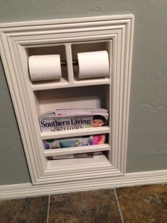 built in toilet paper holder and magazine holder - bathroom organization ideas Bathroom storage ideas and bathroom hacks to help you get more space in a small bathroom and finally get your whole bathroom organized. Bathroom Toilets, Laundry In Bathroom, Master Bathroom, Built In Bathroom Storage, Wall Storage, Bathroom Heater, Master Baths, Downstairs Bathroom, Bathroom Shelves