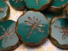 Turquoise Glass Dragonfly Pendant Bead by beadslinger on Etsy, $3.85
